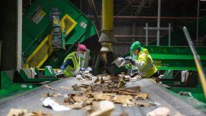Conveyor belt at paper recycling center